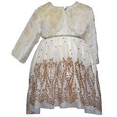 Baby Girl Blueberi Boulevard Faux-Fur Shrug & Glittery Dress Set