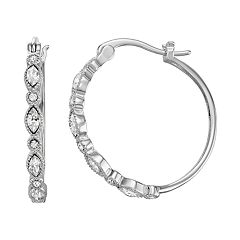 Chrystina Fine Silver Plated Crystal Hoop Earrings