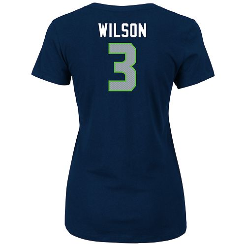 7c57840c Women's Seattle Seahawks Russell Wilson Player Name & Number Tee
