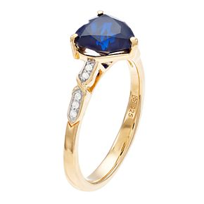14k Gold Over Silver Lab-Created Sapphire Heart Ring