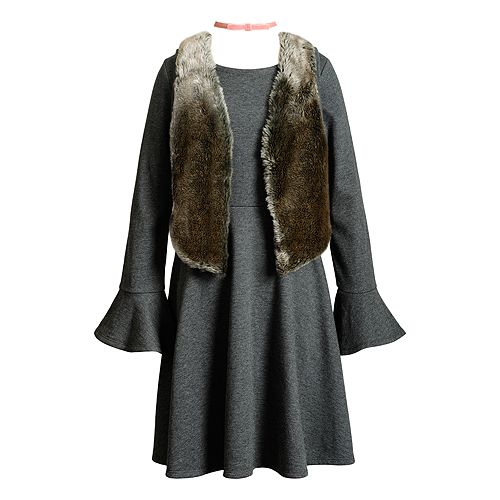Girls 7-16 Emily West Bell Sleeve Dress & Faux Fur Vest Set with Choker Necklace