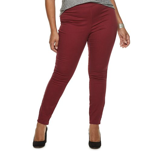 Plus Size Jennifer Lopez Twill Pull-On Jeggings