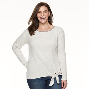 Plus Size Jennifer Lopez Tie-Front Embellished Top
