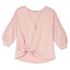 Girls 7-16 IZ Amy Byer Lattice Sleeve Top