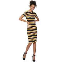 Juniors' Almost Famous Striped Short Sleeve Bodycon Dress