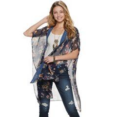 Mudd® Floral Print Textured Lace Trim Ruana