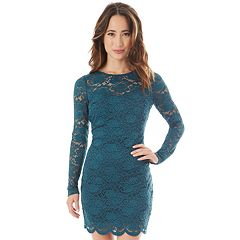 Juniors' IZ Byer Long Sleeve Lace Bodycon Dress