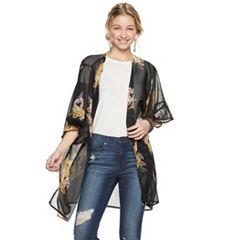 Mudd® Floral Ruffle Sleeve Kimono
