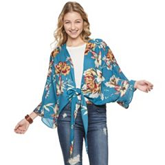 Mudd® Tropical Floral Tie-Front Kimono