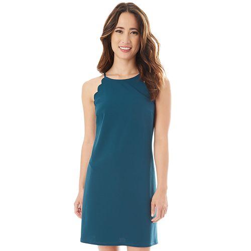 Juniors' IZ Byer Solid Scallop Sleeveless Shift Dress