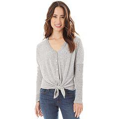 Juniors' IZ Byer Button & Tie Front Sweater