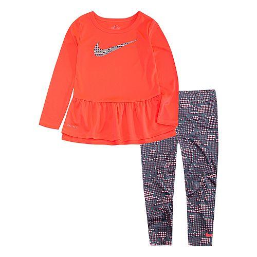 Toddler Girl Nike Peplum-Hem Tunic & Print Leggings Set