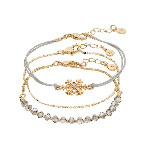LC Lauren Conrad Snowflake Bracelet Set