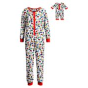 Girls 4-14 Dollie & Me Christmas Lights Union Suit Onsie Pajamas & Doll Pajamas Set