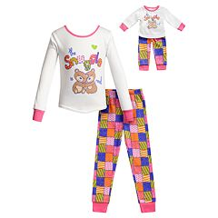 Girls 4-14 Dollie & Me Top & Bottoms Pajama Set & Matching Doll Pajamas