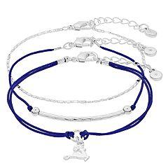 LC Lauren Conrad Silver Tone & Blue Reindeer Charm Bracelet Set