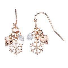 LC Lauren Conrad Rose Gold Tone Snowflake Charm Nickel Free Drop Earrings