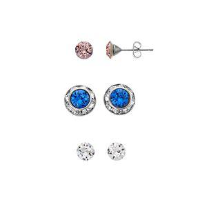 Brilliance Stud Earrings Set with Swarovski Crystals