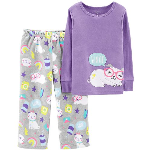 4209e3f80 Toddler Girl Carter s Top   Microfleece Bottoms Pajama Set