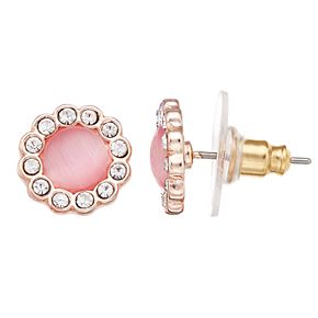 LC Lauren Conrad Pink Simulated Stone Button Nickel Free Stud Earrings