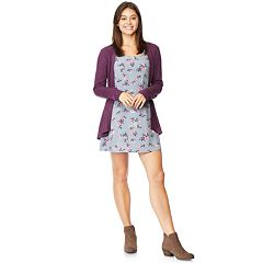 Juniors' WallFlower Swing Dress & Cardigan Set