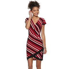 Juniors' Almost Famous Striped Wrap Bodycon Dress
