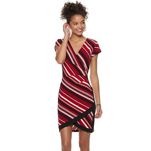 Juniors' Almost Famous Striped Wrap Bodycon Dress