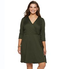 Juniors' Plus Size IZ Byer Fit & Flare Faux Wrap Dress