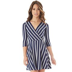 Juniors' IZ Byer Fit & Flare Faux Wrap Dress