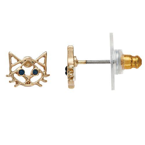 LC Lauren Conrad Nickel Free Cat Stud Earrings