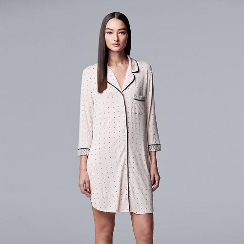 Women's Simply Vera Vera Wang Notch Collar Sleepshirt