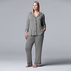 Plus Size Simply Vera Vera Wang Notch Collar Shirt & Pants Pajama Set