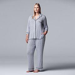 Plus Size Simply Vera Vera Wang Notch Collar Shirt & Pants Pajama Set