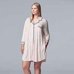 Plus Size Simply Vera Vera Wang Notch Collar Sleepshirt