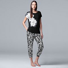 Women's Simply Vera Vera Wang Tee & Crop Jogger Pajama Set