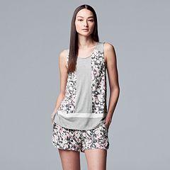 Women's Simply Vera Vera Wang Tank & Boxer Shorts Pajama Set