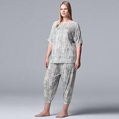 Plus Size Simply Vera Vera Wang Printed Top & Crop Jogger Pajama Set