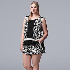 Plus Size Simply Vera Vera Wang Printed Tank & Boxer Shorts Pajama Set