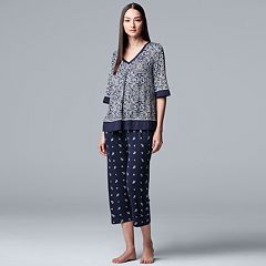 748201f827 Women s Simply Vera Vera Wang Printed Top   Capri Pajama Set