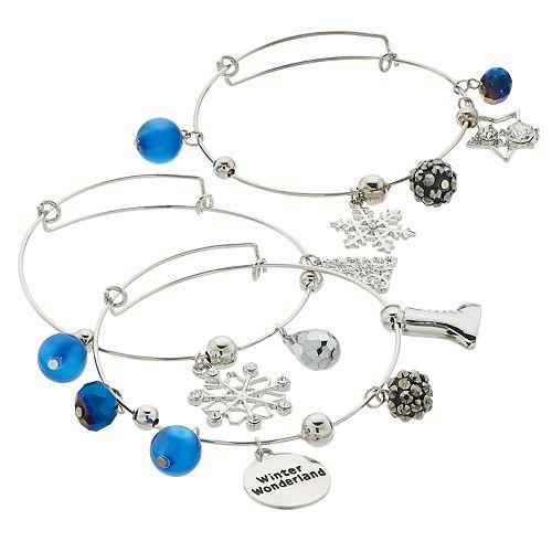 "Blue Bead & Silver Tone ""Winter Wonderland"" Charm Bangle Bracelet Set"