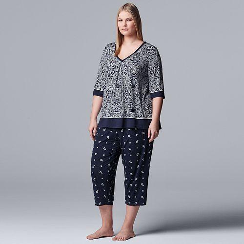 Plus Size Simply Vera Vera Wang Sleep Tee & Capri Pajama Set