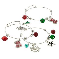 Red & Green Bead & 'Peace on Earth' Holiday Charm Bangle Bracelet Set