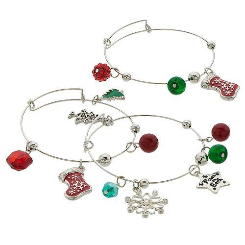 "Red & Green Bead & ""Peace on Earth"" Holiday Charm Bangle Bracelet Set"