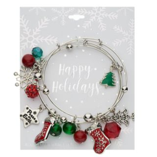 "Red & Green Bead & ""Peace on Earth"" Holiday Charm Bangle Bracelet Set"