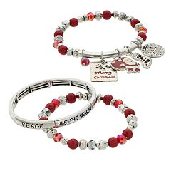Red & Silver Bead 'Merry Christmas' Charm Stretch Bracelet Set
