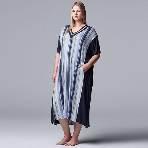 Plus Size Simply Vera Vera Wang Striped Sleepshirt