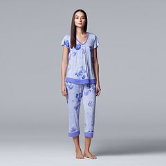 Women's Simply Vera Vera Wang Printed Top & Capri Pajama Set