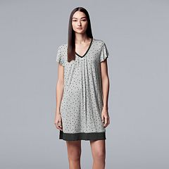 Women's Simply Vera Vera Wang Pleated V-Neck Sleepshirt