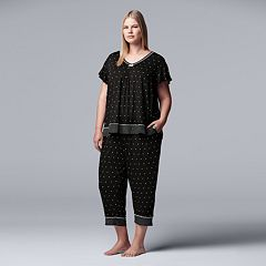 Plus Size Simply Vera Vera Wang Printed Top & Capri Pajama Set