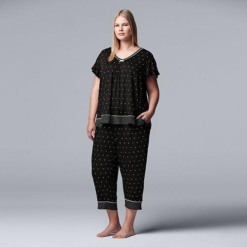818aae3d2 Plus Size Simply Vera Vera Wang Printed Top   Capri Pajama Set